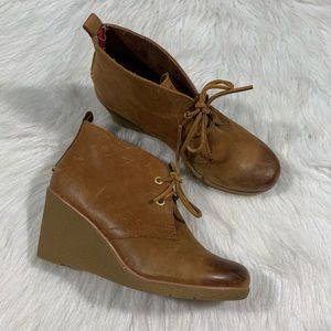 Sperry Harlow Burnished Leather Wedge Bootie